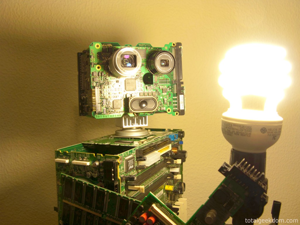 Computer Parts Robot Looking Into Light
