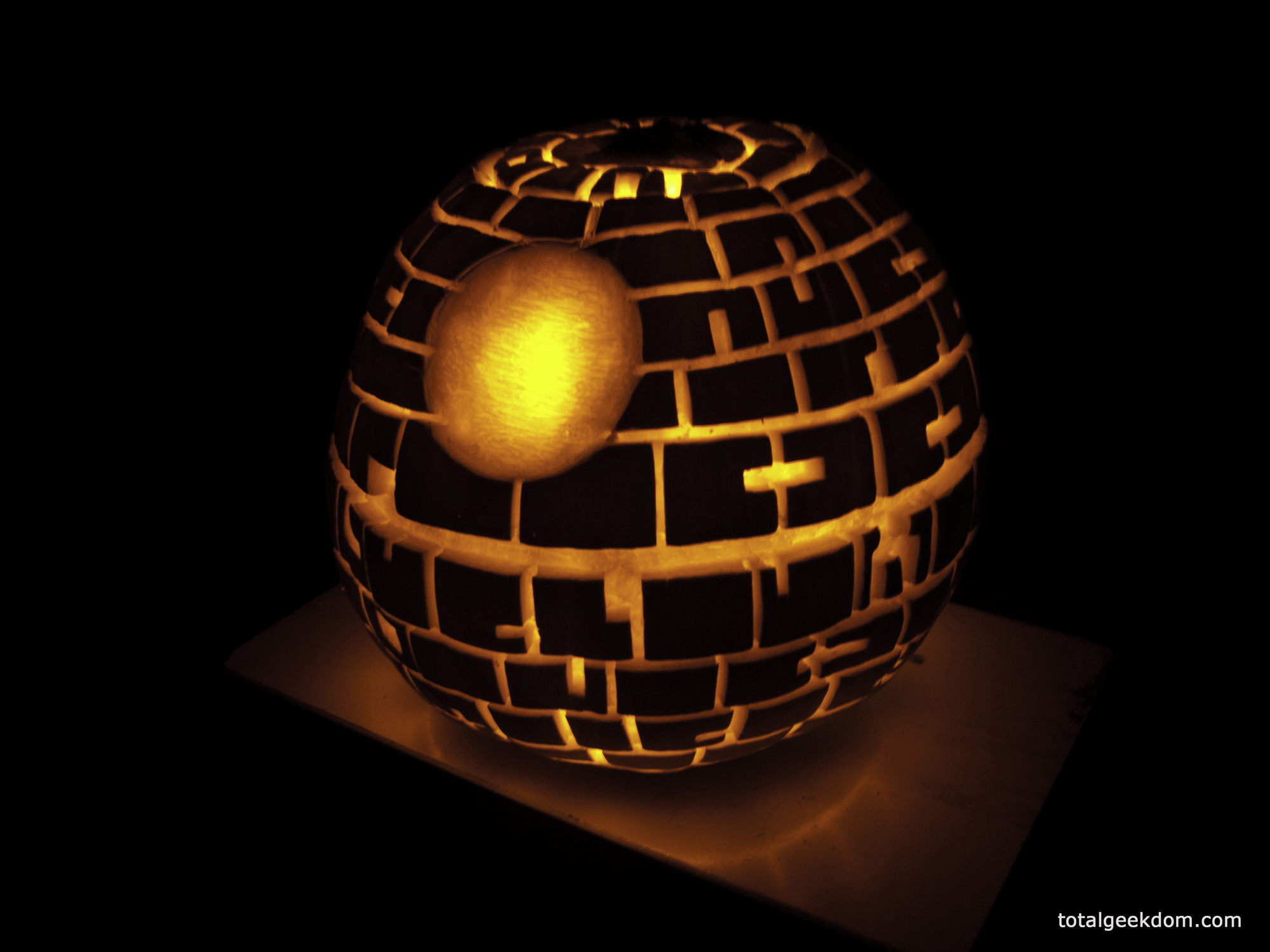 Star Wars Death Star Pumpkin Carving With Cfl Powered Bulb